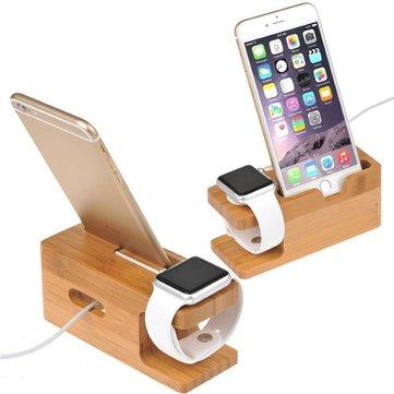 Bamboo Wood Ladestasjon Holder For Apple Watch 38 / 42mm iPhone 7/7 Plus 6 / 6s Plus 5 / 5s / SE