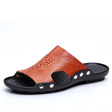 S-4066 Fashion Summer Men Leather Stylish Tiger Pattern Special Sole Beach shoes Slippers Sandals