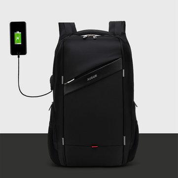 メンズPU 15.6ラップトップUSB充電撥水スクールバックパックアウトドアカジュアルビジネスバッグ