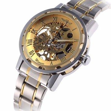 Classic Hand Wind Mekanis Watch Golden Case Classic Romen Skeleton Men Wartch