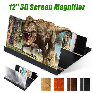 Universal 3D Phone Screen Magnifier Stereoscopic Amplifying 12 Inch Desktop Wood Bracket Phone Holder For Mobilephone