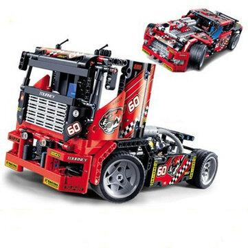 Decool 3360 608pcs מרוץ משאית רכב 2 ב 1 טרנספורמבל דגם אבני הבניין צעצועים ערכות DIY צעצועים עם תיבת