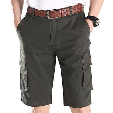 ग्रीष्मकालीन पुरुषों आरामदायक त्वरित सुखाने बहु जेब कार्गो पैंट कपास घुटने-लंबाई पतलून