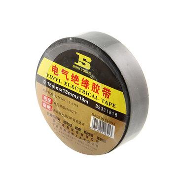 BOSI 18mmx18m PVC Self Adhesive Insulation Electrical Tape Flame Retardant Tape Black Color