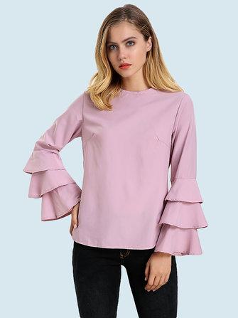Elegante Mujer blusa de color sólido manga campana camiseta con cuello en ola