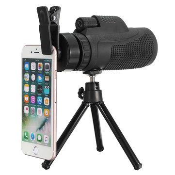 40x60 Telephoto Monocular Camera Lens Phone Clip with Tripod