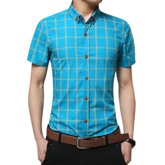 पुरुषों के लिए व्यापार आकस्मिक प्लेड मुद्रित स्लिम फ़िट कपास लघु आस्तीन ड्रेस शर्ट