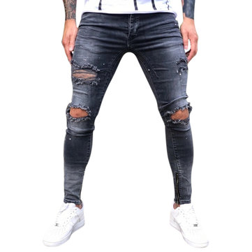 Buy Mens Street Style Zipper Skinny Ripped Cotton Slim Washed Jeans with Litecoins with Free Shipping on Gipsybee.com