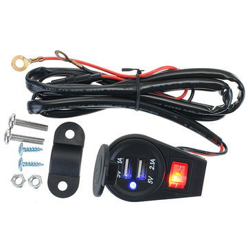 12-24V Dual USB Adapter Charger Motorcycle with On/off Switch Wiring Harness