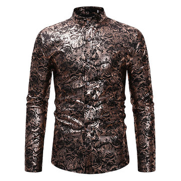 Etnisk stil man avslappnad stativ halsband Slim Fit Hot Stampning Base Print Långärmade T-shirts