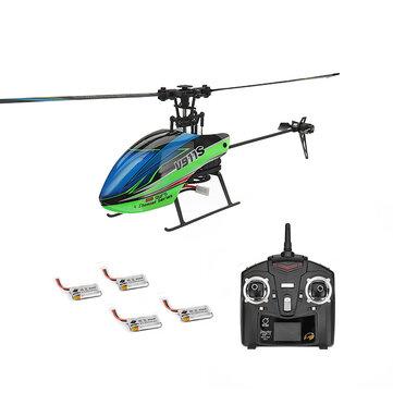WLtoys V911S 2.4G 4CH 6-Aixs Gyro Flybarless RC Helikopter RTF Dengan 4 PCS 3.7 V 250 MAh Lipo Baterai