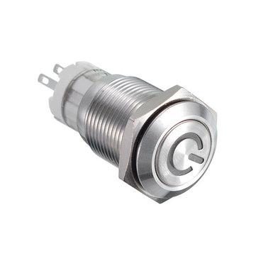 16MM 6V / 12V / 24V / 110V / 220V防水自己リセットステンレススチールメタルボタンスイッチ白LEDライト