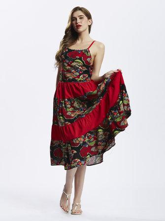जातीय शैली महिला पट्टा मुद्रण पैचवर्क बोहेमियन Pleated मैक्सी पोशाक