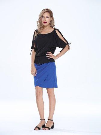 सुरुचिपूर्ण महिला उच्च कमर ठोस असममित Pleated पैकेज हिप पेंसिल स्कर्ट