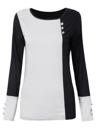 आरामदायक बटन रंग ब्लॉक लंबी आस्तीन गोल गर्दन महिला कपास टी शर्ट