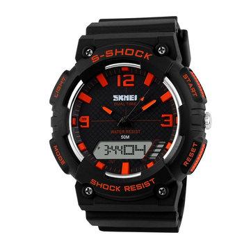 SKMEI 1057 Analog Dijital Alarm Kronometre Su Geçirmez Erkek Spor Saat