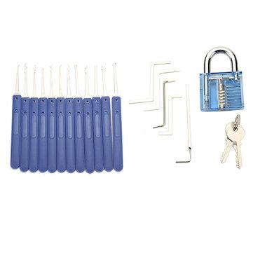 DANIU 12st Unlocking Lock Pick Set Key Extractor Tool med Blå Practice Hänglås Lås Pick Tools