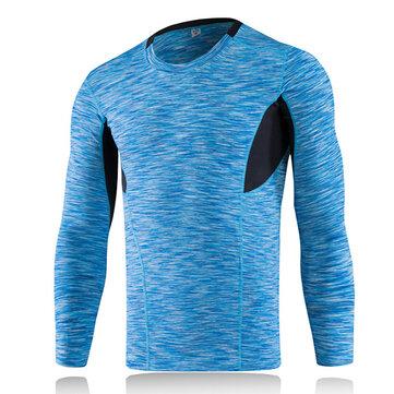 पुरुषों की तंग त्वरित सुखाने लंबी आस्तीन खेल फिटनेस लोचदार पॉलिएस्टर टी शर्ट चल रहा है