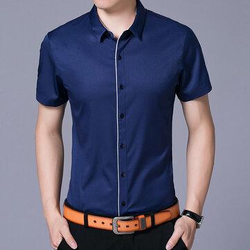 Sommarföretagskontor Slim Fit Kortärmad Knäpp upp Klänningskjortor för män