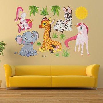 Tecknad Animal Elephant Giraffer Grass Bedroom Removable Wall Sticker Heminredning