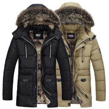 पुरुषों शीतकालीन गर्म हूडेड मल्टी जेब जिपर बटन कपास गद्देदार मोटी ट्रेंडी पार्कस जैकेट