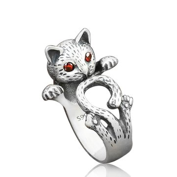 Étnico Red Eye fortuna Gato anillo lindo antiguo de plata Adjudestble anillo vendimia joyas para Mujer