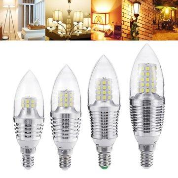 E14 5W 7W 9W 12W SMD 2835 Sliver LED Candle Light Bulb Chandelier Lighting AC85-265V