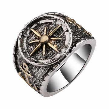 Retro Finger Ring Antique Silver Astrolabium Compass Pattern Rings Ethnic Jewelry For Men
