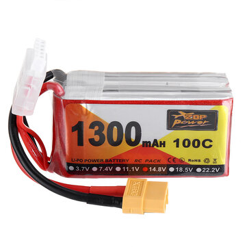 ZOP Power 14.8V 1300mAh 100C 4S Lipo Battery XT60 Plug for RC Racing Drone