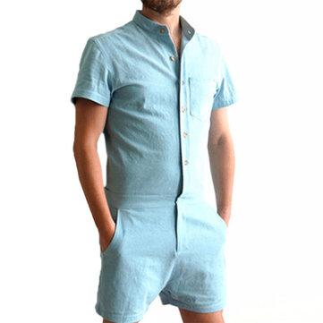 Mens Sommar Mode Ren Färg Rompers Singel Bröst Kortärmad Jumpsuits