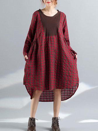 Kadın Uzun Kollu Gömlek Rahat Asimetrik Orta Uzun Elbiseler