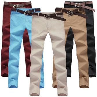 पुरुषों के वसंत ग्रीष्मकालीन ठोस रंग आरामदायक लंबे पतलून सीधे पैंट