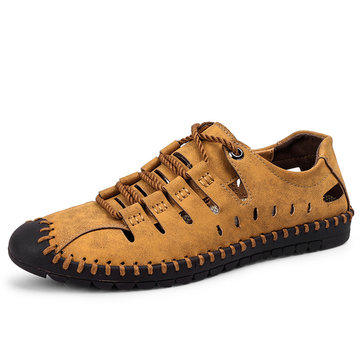 Men Hollow Out Lace Up Loafers Microfiber Leather Flats