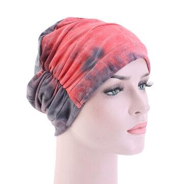 Women Tie-dye Headscarf Modal Hair Jacket Turban Hat Cotton Casual Breathable Head Cap