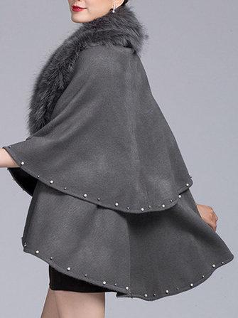 Women Elegant Fur Collar Layers Solid Color Cloak Cape Coats