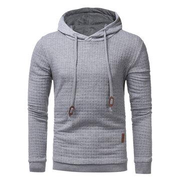 पुरुषों की शरद ऋतु शीतकालीन पॉलिएस्टर फिटनेस लंबी आस्तीन हुड शुद्ध रंग आरामदायक स्वेटरशॉट
