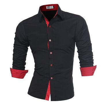 Mens Fashion Contrast Färglackett Höst Solid Color Casual Designer Skjortor