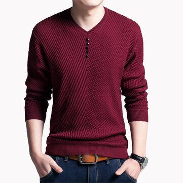 पुरुषों फैशन बुनाई वी कॉलर लंबी आस्तीन टी शर्ट आरामदायक स्लिम फिट टॉप Tees