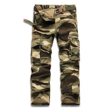 पुरुषों छद्म आउटडोअर स्पोर्ट्स पैंट आरामदायक सैन्य कपास मल्टी पॉकेट कार्गो पैंट