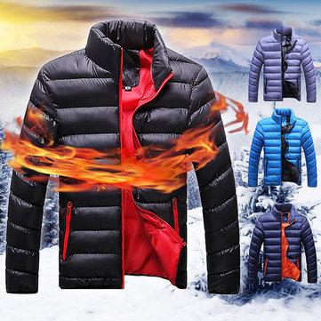 पुरुष विंडप्रूफ स्टैंड कॉलर जिपर आरामदायक वार्म कॉटन पफर जैकेट