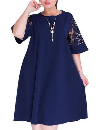 Casual Kadın Gevşek Çan Kollu O-Boyun Elbise