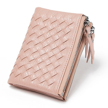 Women Weaven Short Wallets Girls Hasp Super Slim Purse Card Holder Coin Bags