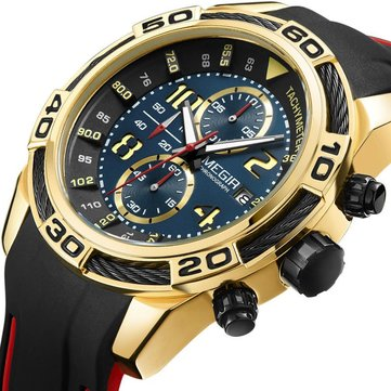 MEGIR 2045 Sport Watches Military Chronograph Silicone Strap Men Quartz Watch