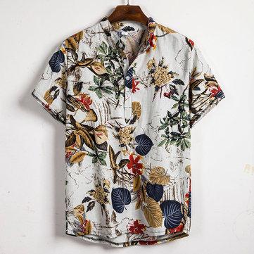 Män Tropiska Växter Tryck Kort Sleeve Oriental Henley Shirt