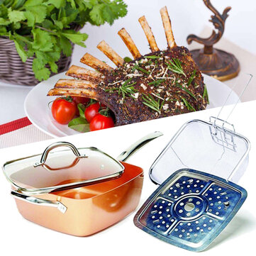 22% OFF for 4 Piece/ Set Copper Square Frying Pan Induction For Chef Glass Lid Fry Basket Steam Rack