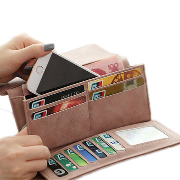 Women Hasp Long Wallets Retro 3 Folded Purse Card Holder Coin Bags 5.5'' Phone Bags Iphone 7P