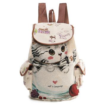 कैनवास आरामदायक कार्टून बिल्ली पैटर्न स्कूल बैग बैग बैग कंधे बैग छात्र बैग