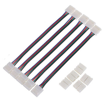 5pcs 8mm 4pin SMD 3528 Double Head Connector Cable For RGB LED Strip Light Lamp