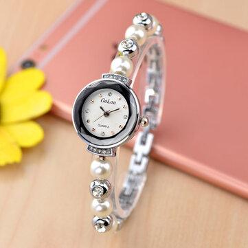 फैशन डायमंड एलिगेंट पर्ल लेडी ब्रेसलेट घड़ी महिला क्वार्ट्ज घड़ी