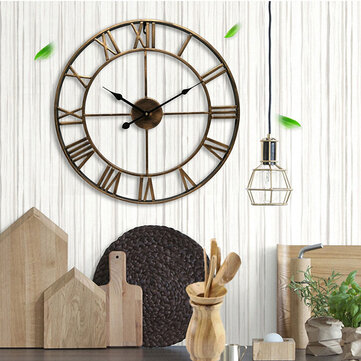 Loskii Creative Wall Clock Living Room Round Hollow Out Cafe Bar Wrought Metal Vintage Wall Clock